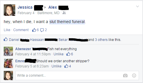Slut Themed Funeral